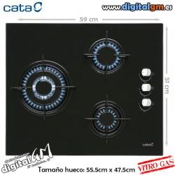 PLACA VITRO-GAS CATA (3 FUEGOS/BASE CRISTAL)