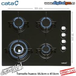 PLACA VITRO-GAS CATA (4 FUEGOS/BASE CRISTAL)