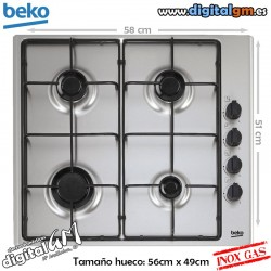 PLACA GAS BEKO HIZG-64101SX (4 FUEGOS GAS/BASE INOX)